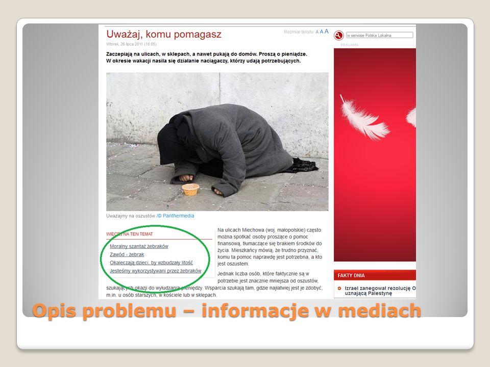 Opis problemu – informacje w mediach