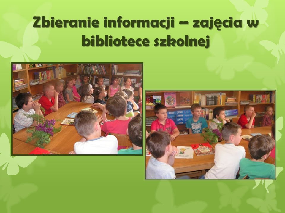 Zbieranie informacji – zajęcia w bibliotece szkolnej