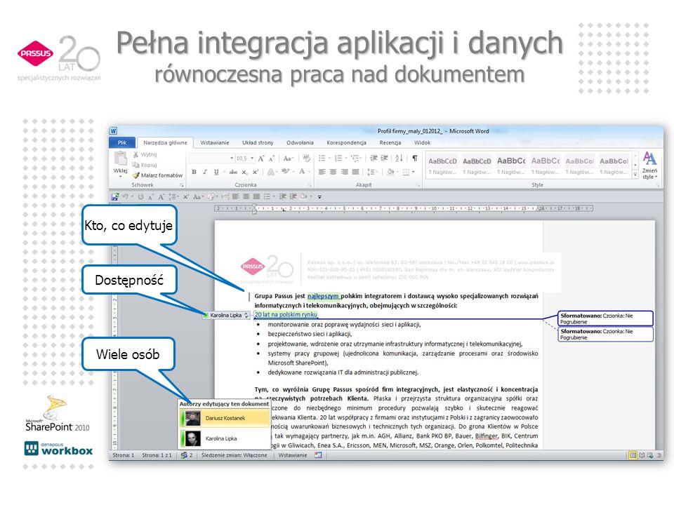 Pełna integracja aplikacji i danych równoczesna praca nad dokumentem