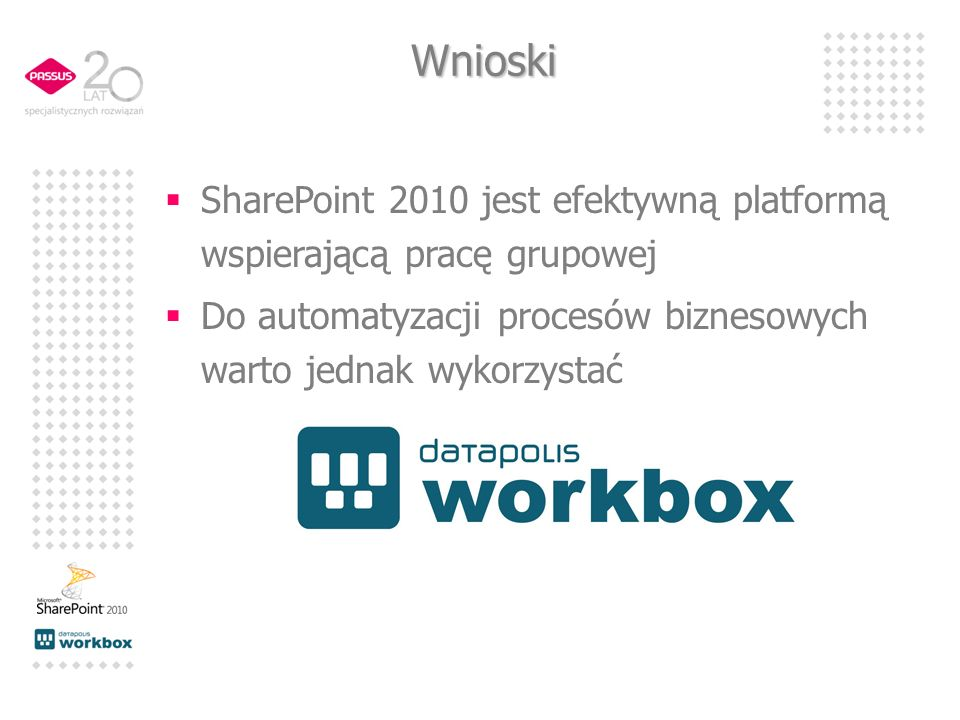 Wnioski SharePoint 2010 jest efektywną platformą wspierającą pracę grupowej.
