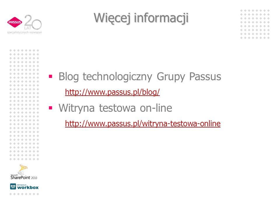 Więcej informacji Blog technologiczny Grupy Passus