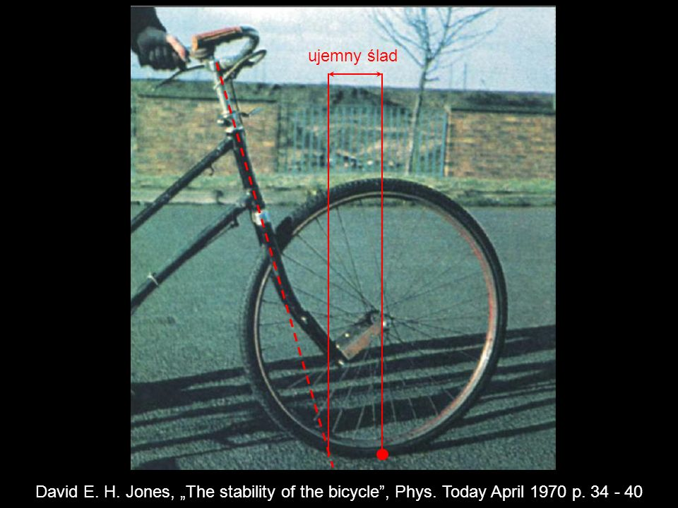 "ujemny ślad David E. H. Jones, ""The stability of the bicycle , Phys. Today April 1970 p. 34 - 40"