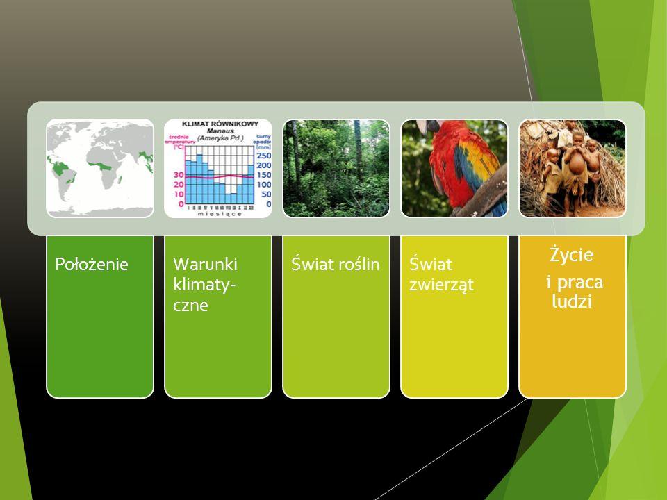 Położenie Warunki klimaty-czne Świat roślin Świat zwierząt Życie i praca ludzi