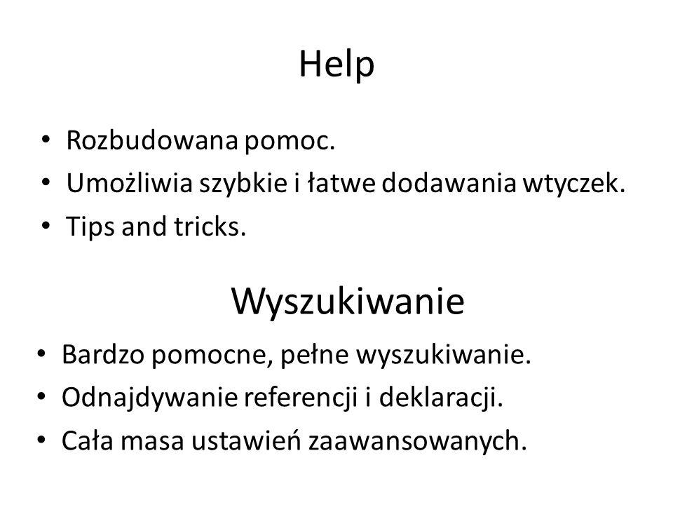 Help Wyszukiwanie Rozbudowana pomoc.