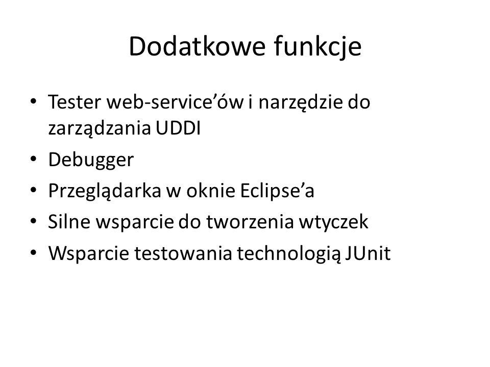 Dodatkowe funkcje Tester web-service'ów i narzędzie do zarządzania UDDI. Debugger. Przeglądarka w oknie Eclipse'a.