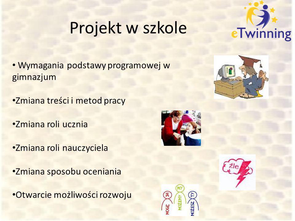 Projekt w szkole Wymagania podstawy programowej w gimnazjum