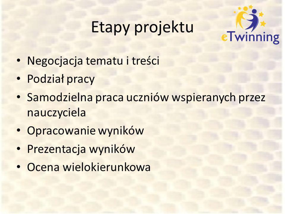 Etapy projektu Negocjacja tematu i treści Podział pracy