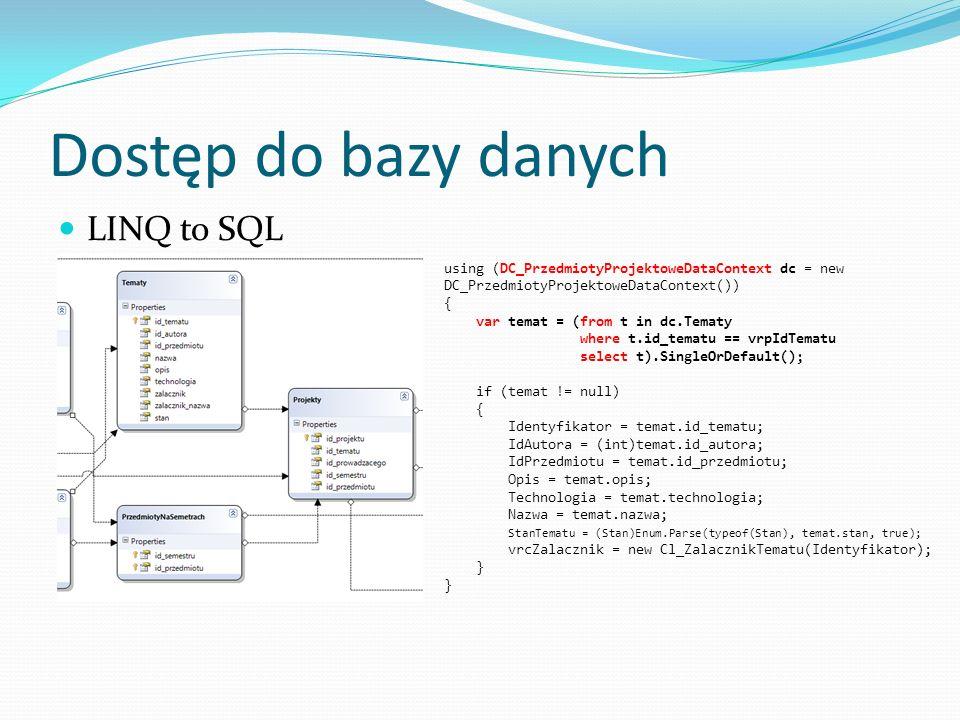 Dostęp do bazy danych LINQ to SQL