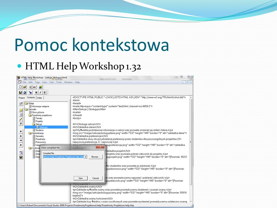 Pomoc kontekstowa HTML Help Workshop 1.32
