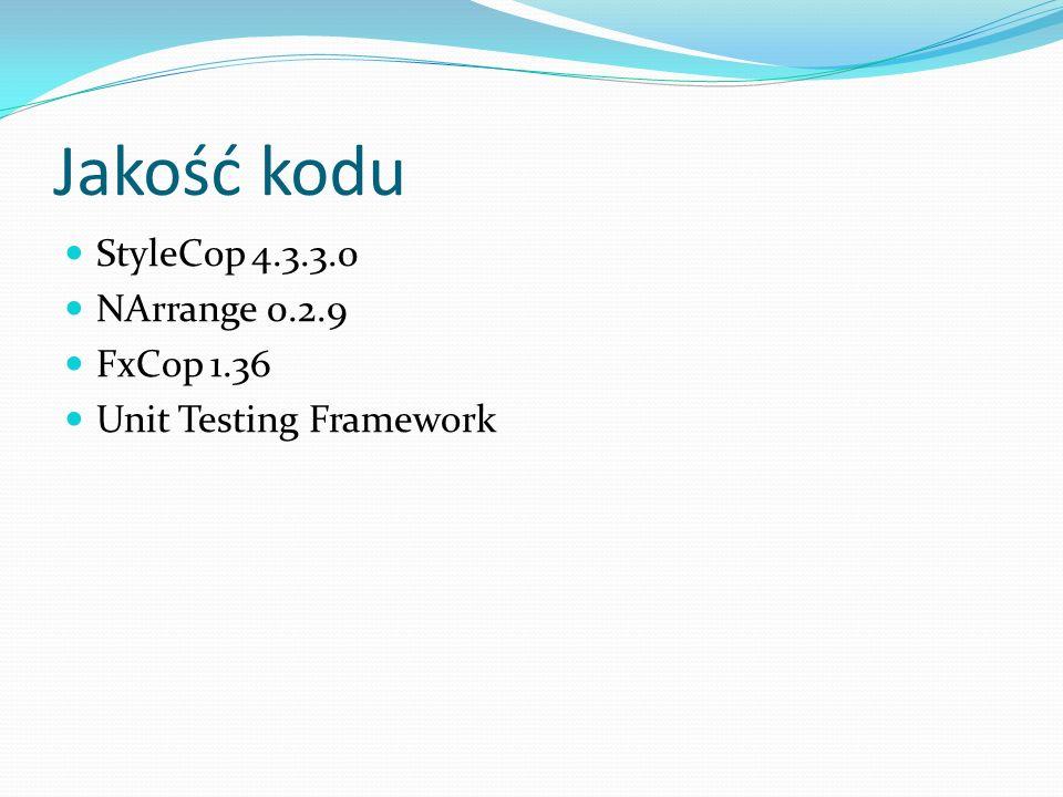 Jakość kodu StyleCop 4.3.3.0 NArrange 0.2.9 FxCop 1.36