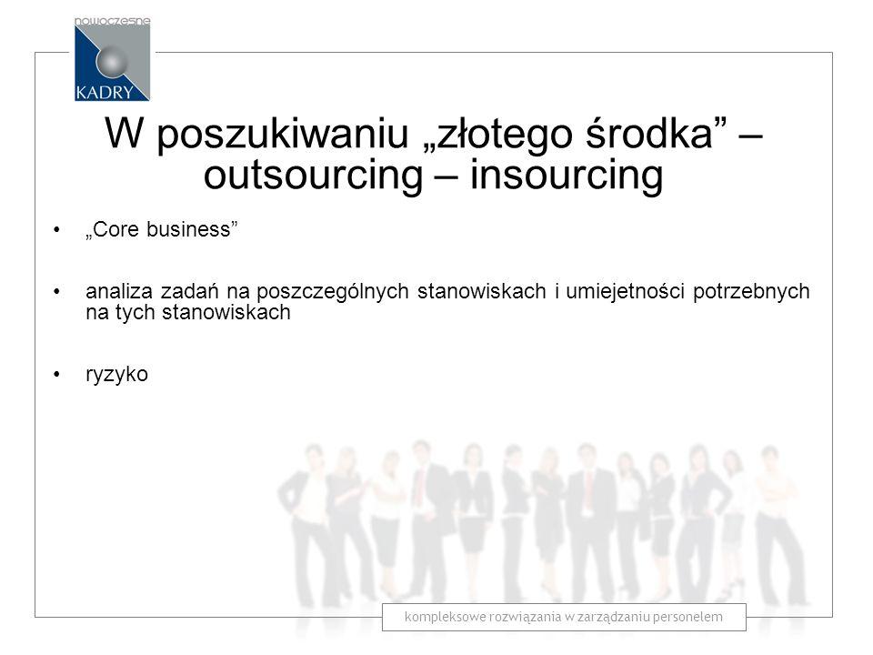 """W poszukiwaniu """"złotego środka – outsourcing – insourcing"""