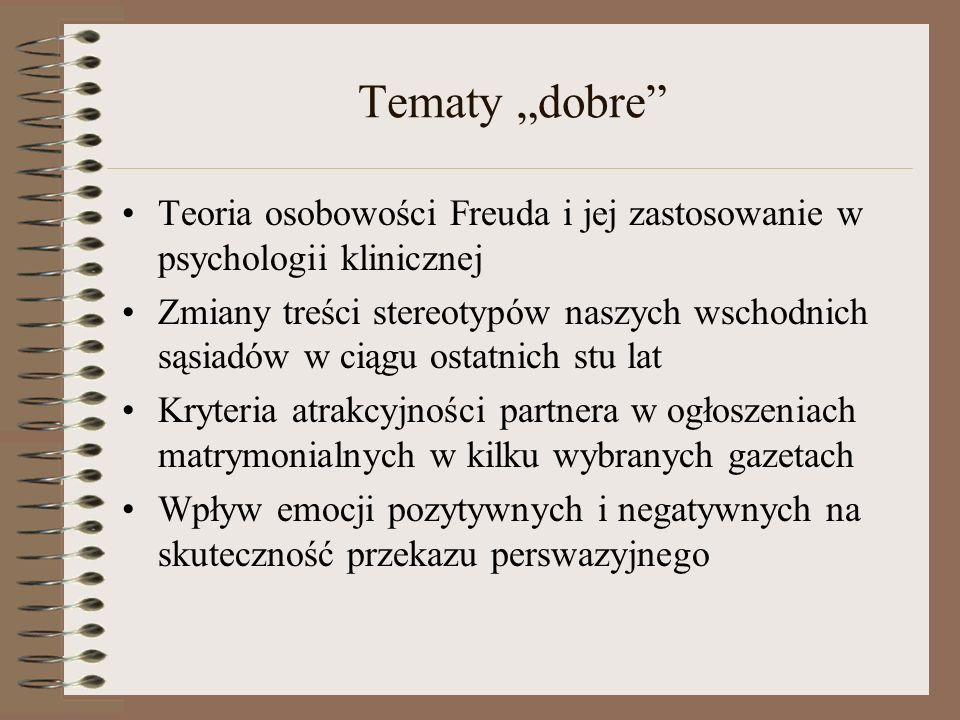 """Tematy """"dobre Teoria osobowości Freuda i jej zastosowanie w psychologii klinicznej."""