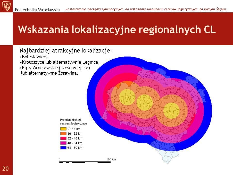 Wskazania lokalizacyjne regionalnych CL