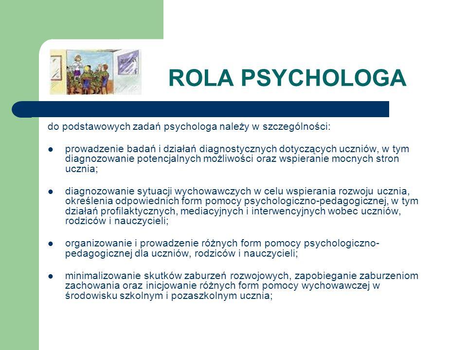 ROLA PSYCHOLOGA do podstawowych zadań psychologa należy w szczególności: