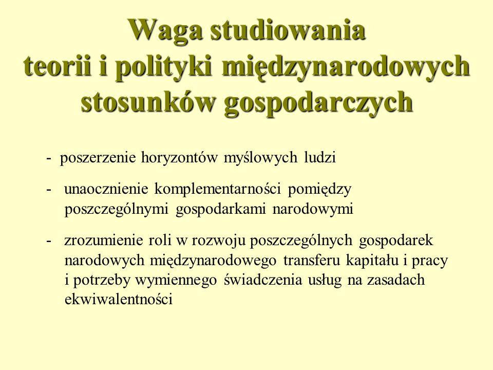 Waga studiowania teorii i polityki międzynarodowych stosunków gospodarczych
