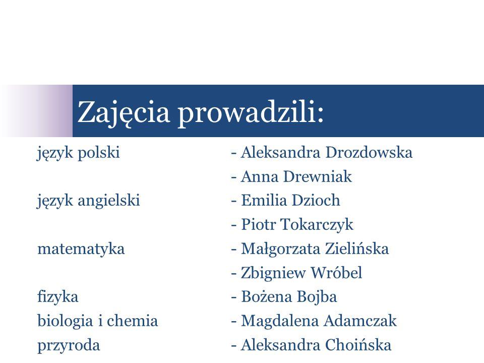 Zajęcia prowadzili: język polski - Aleksandra Drozdowska
