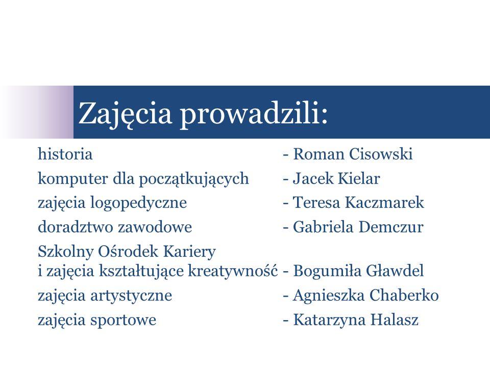 Zajęcia prowadzili: historia - Roman Cisowski