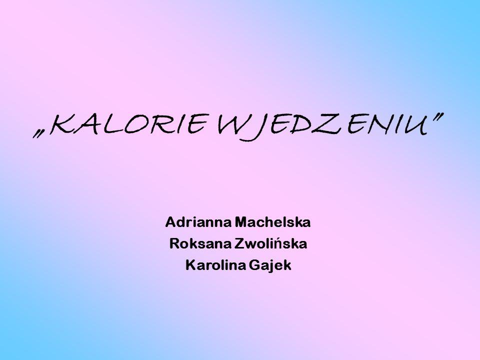 """""""KALORIE W JEDZENIU Adrianna Machelska Roksana Zwolińska"""