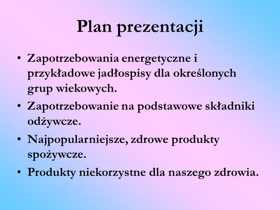 Plan prezentacji Zapotrzebowania energetyczne i przykładowe jadłospisy dla określonych grup wiekowych.