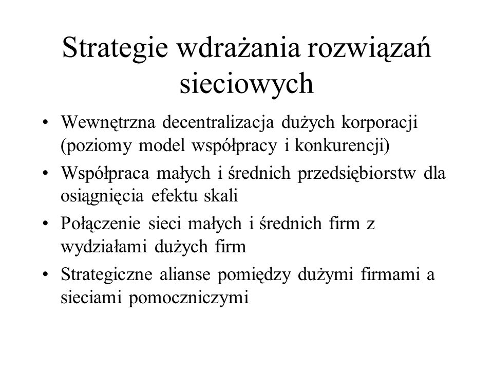 Strategie wdrażania rozwiązań sieciowych