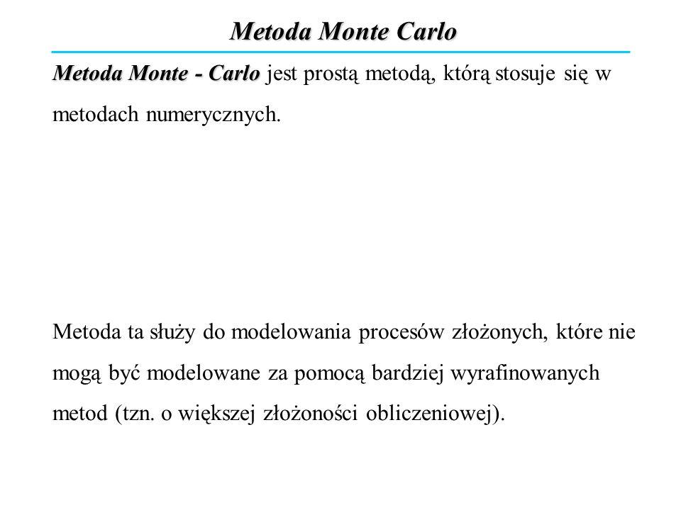 Metoda Monte Carlo Metoda Monte - Carlo jest prostą metodą, którą stosuje się w metodach numerycznych.