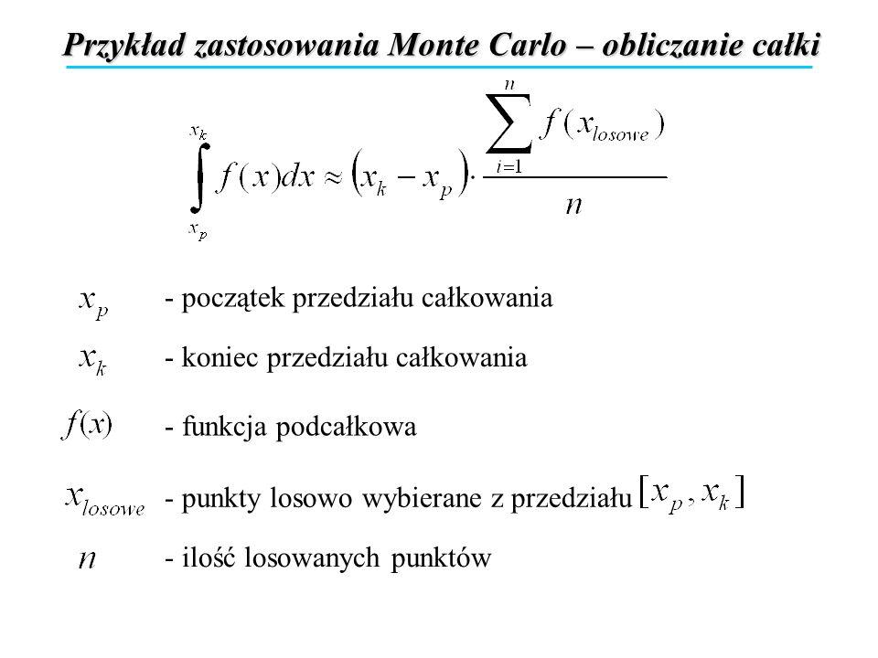Przykład zastosowania Monte Carlo – obliczanie całki