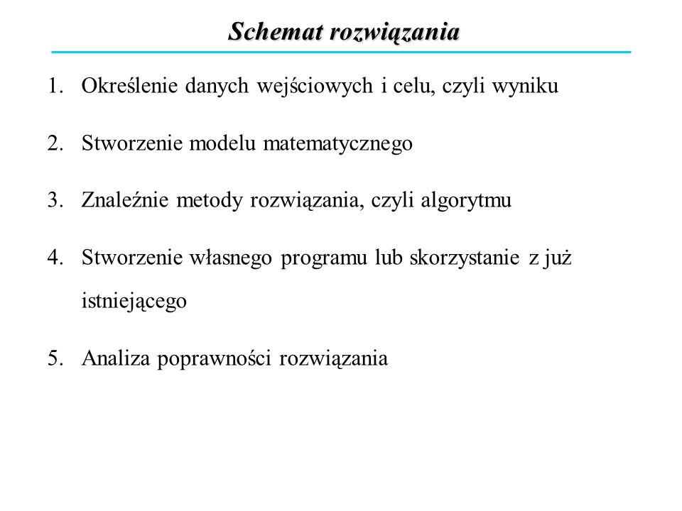 Schemat rozwiązania Określenie danych wejściowych i celu, czyli wyniku
