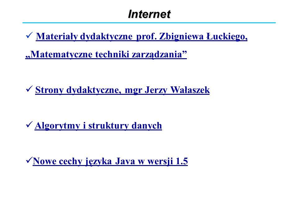 """Internet Materiały dydaktyczne prof. Zbigniewa Łuckiego, """"Matematyczne techniki zarządzania Strony dydaktyczne, mgr Jerzy Wałaszek."""