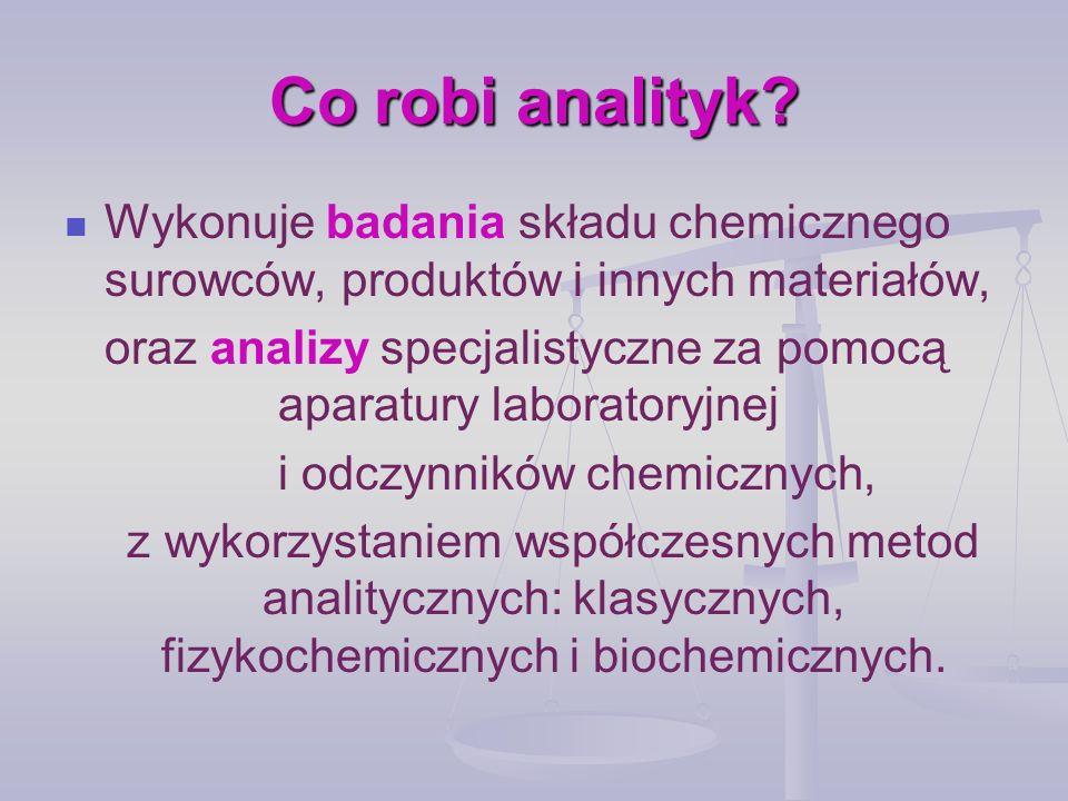 Co robi analityk Wykonuje badania składu chemicznego surowców, produktów i innych materiałów,