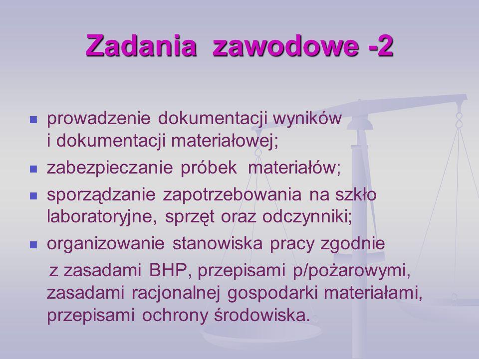 Zadania zawodowe -2prowadzenie dokumentacji wyników i dokumentacji materiałowej; zabezpieczanie próbek materiałów;