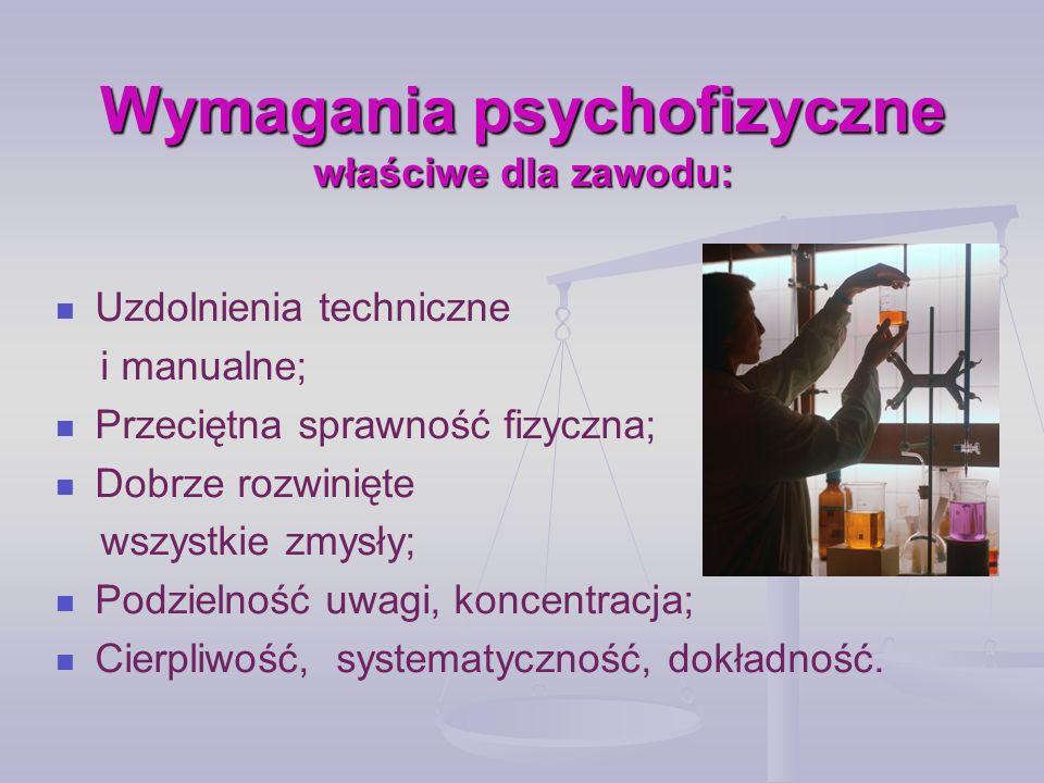 Wymagania psychofizyczne właściwe dla zawodu: