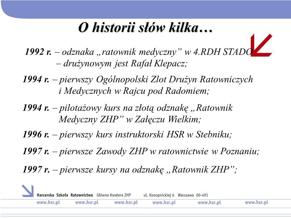 """O historii słów kilka… 1992 r. – odznaka """"ratownik medyczny w 4.RDH STADO – drużynowym jest Rafał Klepacz;"""