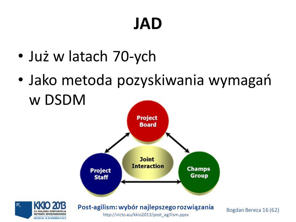JAD Już w latach 70-ych Jako metoda pozyskiwania wymagań w DSDM