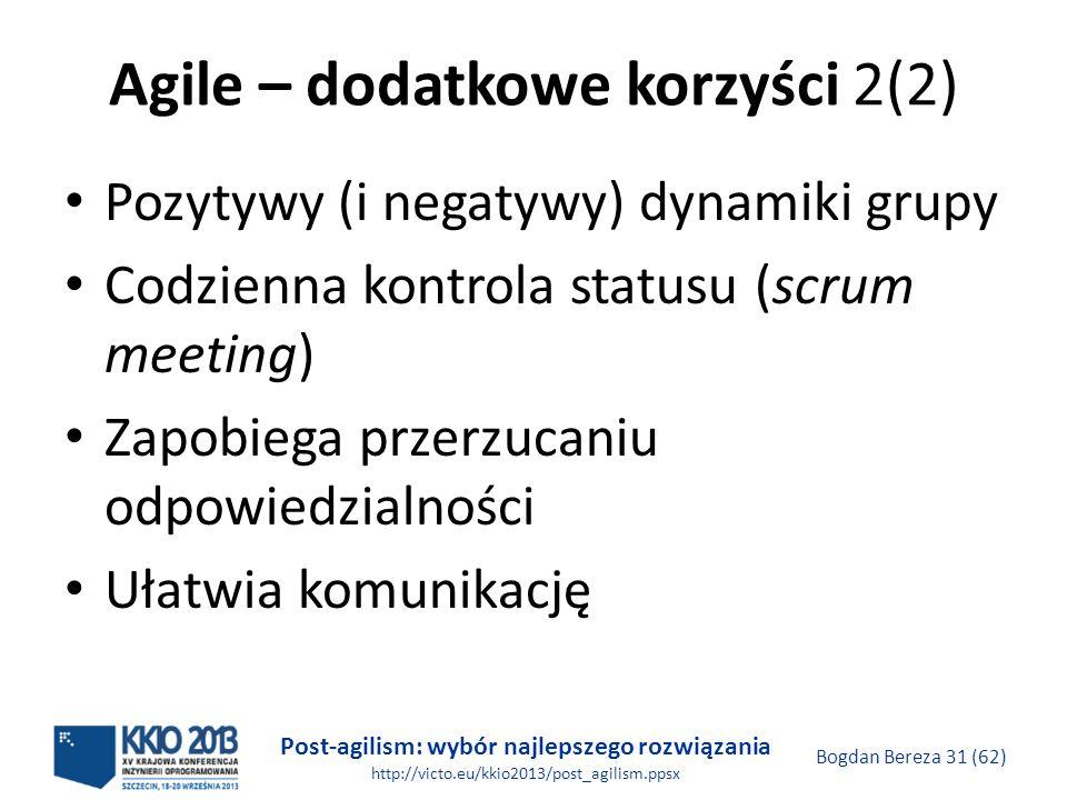 Agile – dodatkowe korzyści 2(2)