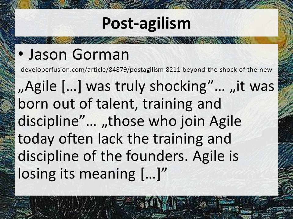 Post-agilism Jason Gorman