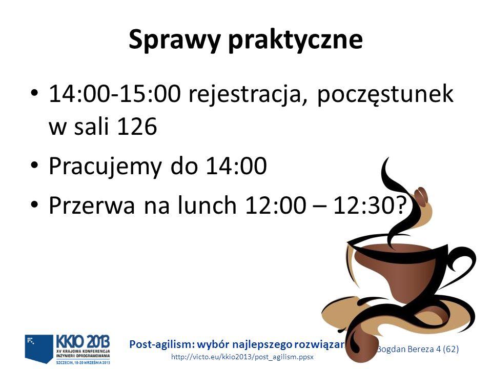 Sprawy praktyczne 14:00-15:00 rejestracja, poczęstunek w sali 126