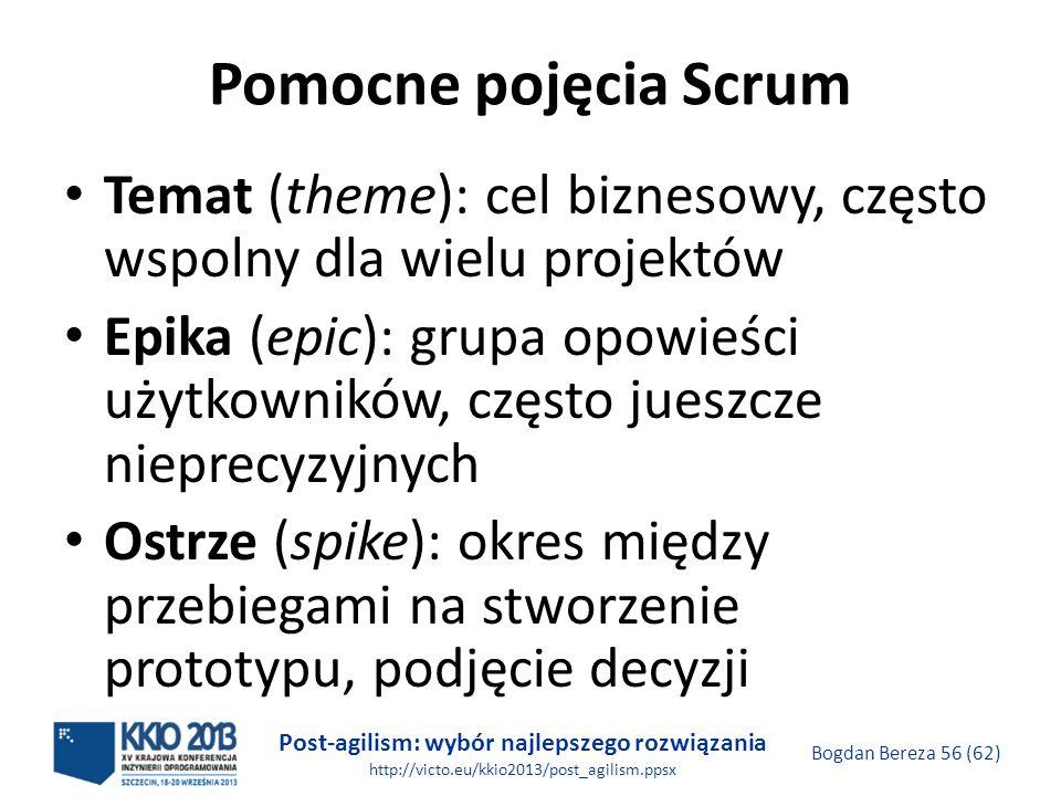 Pomocne pojęcia Scrum Temat (theme): cel biznesowy, często wspolny dla wielu projektów.