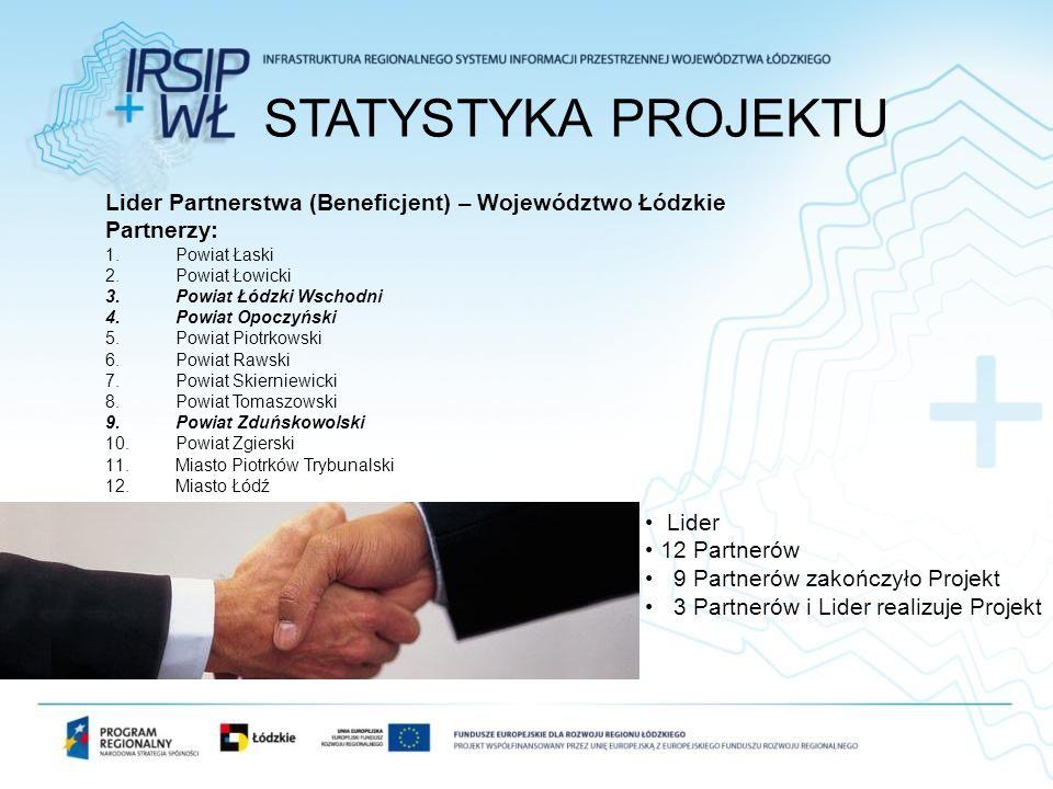 STATYSTYKA PROJEKTU Lider Partnerstwa (Beneficjent) – Województwo Łódzkie. Partnerzy: Powiat Łaski.