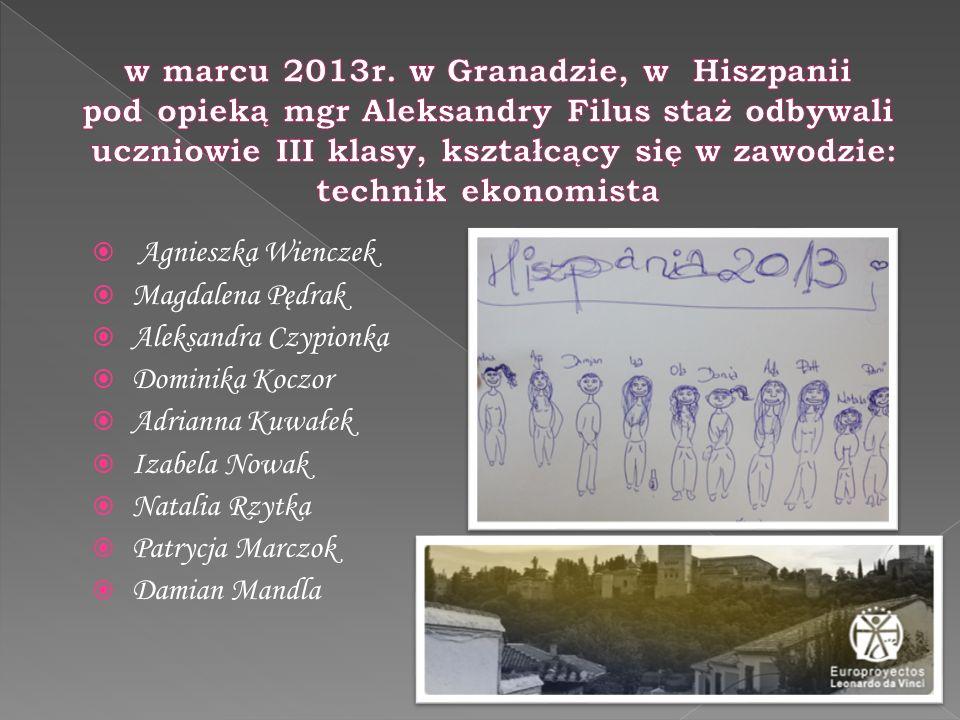 w marcu 2013r. w Granadzie, w Hiszpanii pod opieką mgr Aleksandry Filus staż odbywali uczniowie III klasy, kształcący się w zawodzie: technik ekonomista
