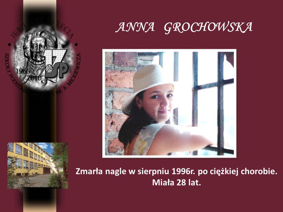 Zmarła nagle w sierpniu 1996r. po ciężkiej chorobie.