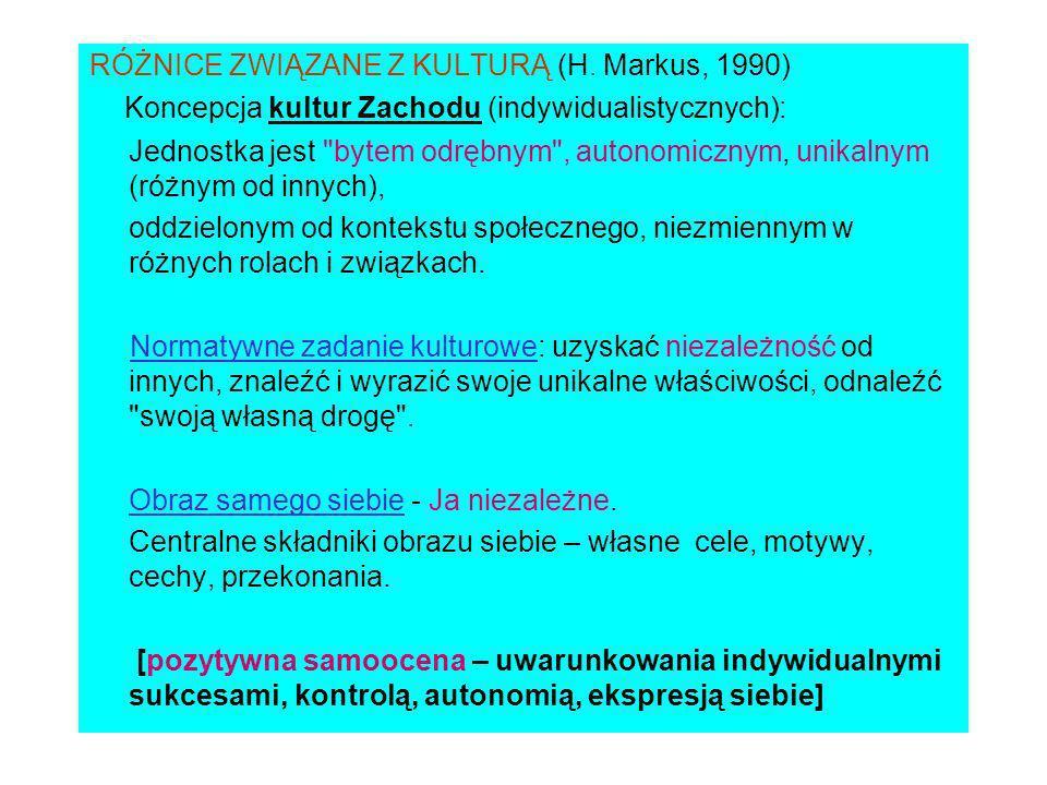 RÓŻNICE ZWIĄZANE Z KULTURĄ (H. Markus, 1990)