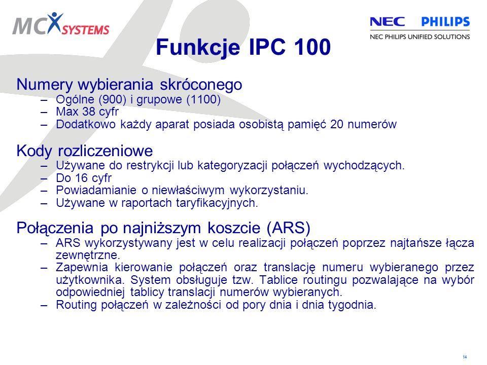Funkcje IPC 100 Numery wybierania skróconego Kody rozliczeniowe