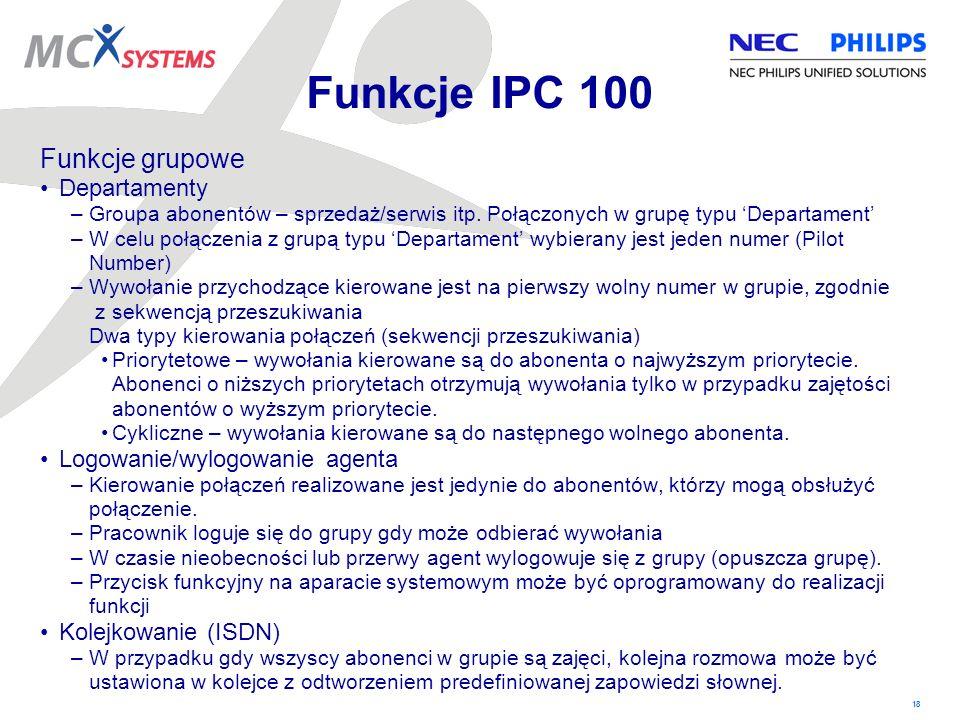 Funkcje IPC 100 Funkcje grupowe Departamenty