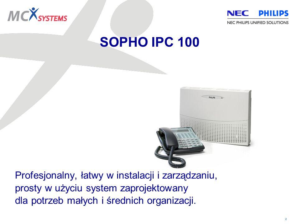 SOPHO IPC 100 Profesjonalny, łatwy w instalacji i zarządzaniu, prosty w użyciu system zaprojektowany dla potrzeb małych i średnich organizacji.