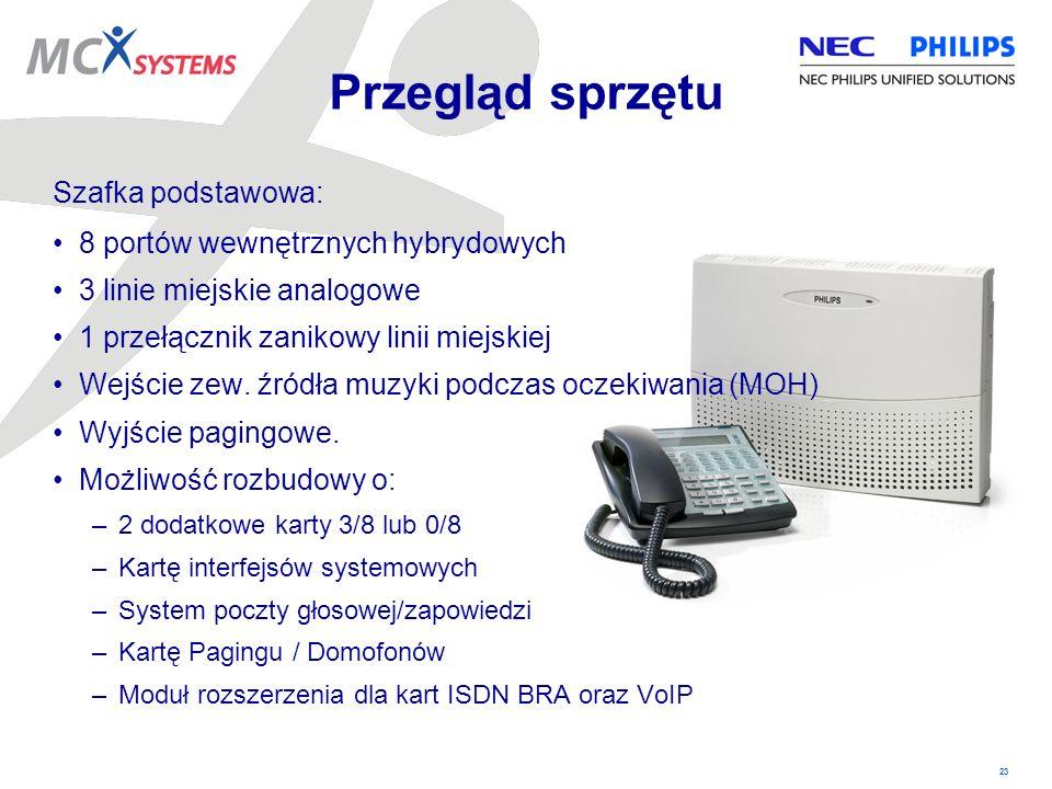 Przegląd sprzętu Szafka podstawowa: 8 portów wewnętrznych hybrydowych