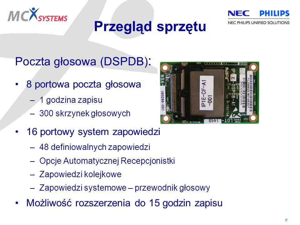 Przegląd sprzętu Poczta głosowa (DSPDB): 8 portowa poczta głosowa