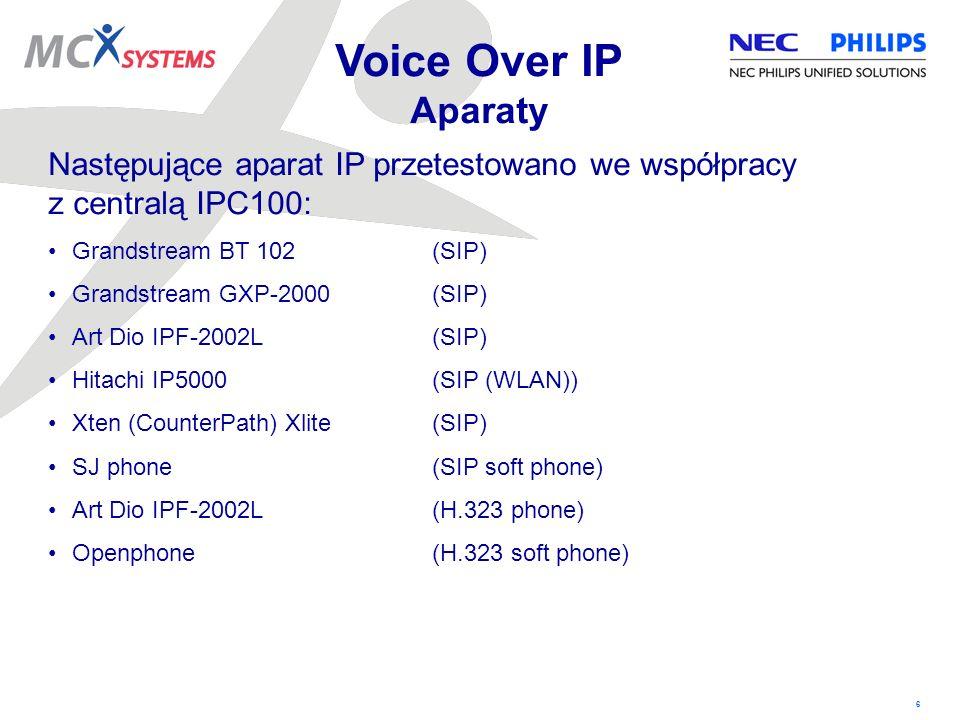 Voice Over IP Aparaty Następujące aparat IP przetestowano we współpracy. z centralą IPC100: Grandstream BT 102 (SIP)