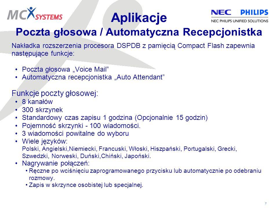 Aplikacje Poczta głosowa / Automatyczna Recepcjonistka
