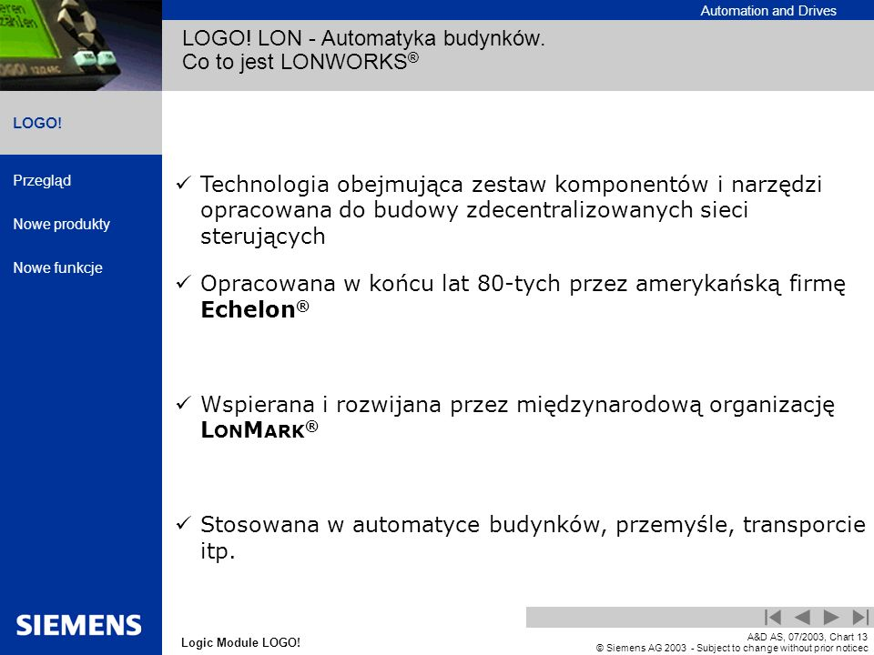 LOGO! LON - Automatyka budynków. Co to jest LONWORKS®