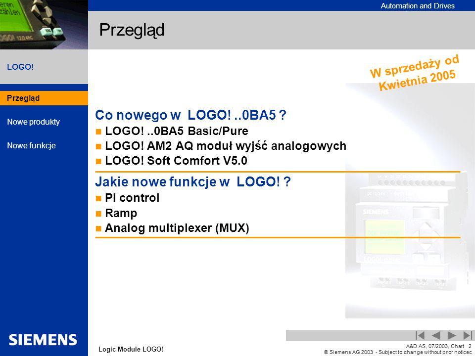 Przegląd Co nowego w LOGO! ..0BA5 Jakie nowe funkcje w LOGO!